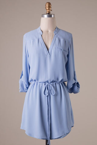 Cambria 3/4 Sleeve Dress - Periwinkle Blue - Blue Chic Boutique  - 1