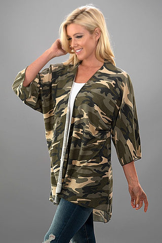 Camo Half Sleeve Cardigan - Olive and Khaki - Blue Chic Boutique  - 2