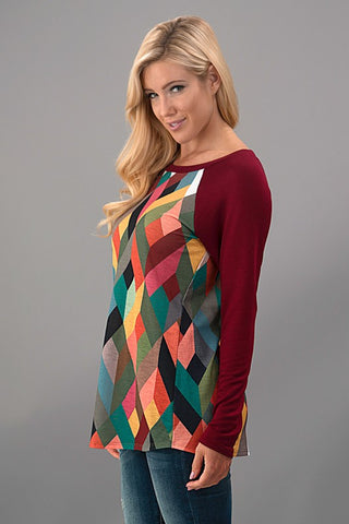 Geometric Fall Top - Mustard - Blue Chic Boutique  - 4
