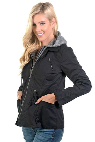 Fall Coat with Hood - Black - Blue Chic Boutique  - 2