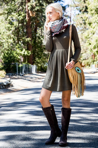 Perfect Fall Day Dress - Olive - Blue Chic Boutique  - 1