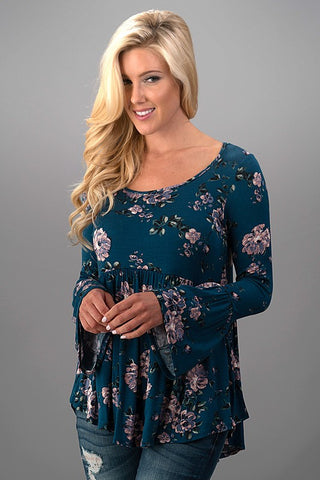 Floral Bell Sleeve Top - Teal - Blue Chic Boutique  - 1