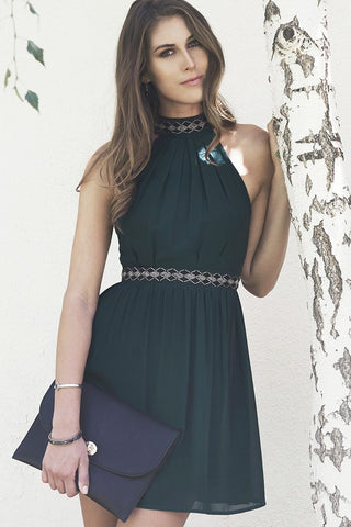 Fall Elegance Halter Dress - Sea Green - Blue Chic Boutique  - 1