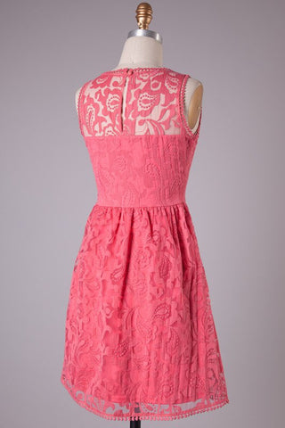 Sweetheart Lace Dress - Deep Pink - Blue Chic Boutique  - 2