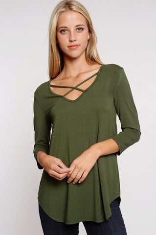 Criss Cross 3/4 Sleeve Top - Olive - Blue Chic Boutique  - 1