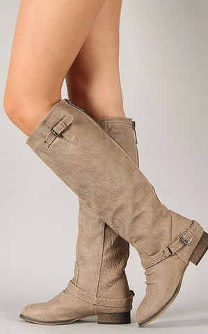 Double Buckle Boots - Beige - Blue Chic Boutique  - 2