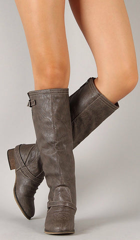 Double Buckle Boots - Taupe - Blue Chic Boutique  - 1