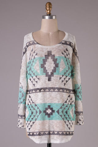 Aztec Tunic Sweater - Mint and White - Blue Chic Boutique  - 1