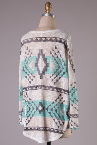 Aztec Tunic Sweater - Mint and White - Blue Chic Boutique  - 2