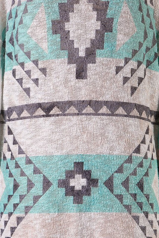 Aztec Tunic Sweater - Mint and White - Blue Chic Boutique  - 3