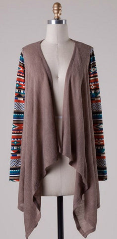 Contrast Sleeve Cardigan - Taupe - Blue Chic Boutique  - 4