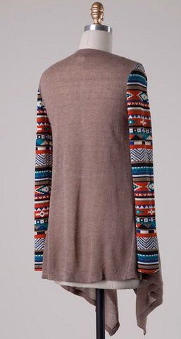 Contrast Sleeve Cardigan - Taupe - Blue Chic Boutique  - 5
