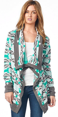 Cool Weather Cardigan - Gray and Mint - Blue Chic Boutique  - 2