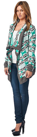 Cool Weather Cardigan - Gray and Mint - Blue Chic Boutique  - 4