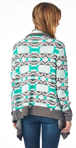 Cool Weather Cardigan - Gray and Mint - Blue Chic Boutique  - 5
