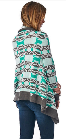 Cool Weather Cardigan - Gray and Mint - Blue Chic Boutique  - 6