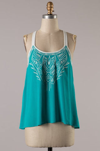 Embroider Green Tank Top - Blue Chic Boutique  - 1