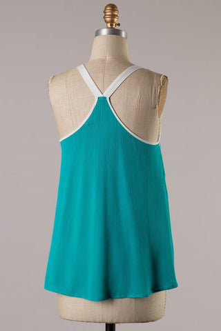 Embroider Green Tank Top - Blue Chic Boutique  - 3