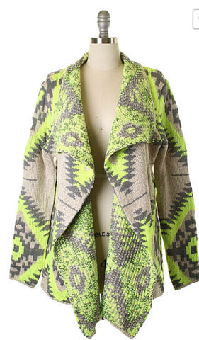 Fall Adventure Cardigan - Neon Lime - Blue Chic Boutique  - 1