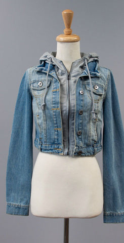 Jean Jacket with Gray Hood - Blue Chic Boutique  - 1