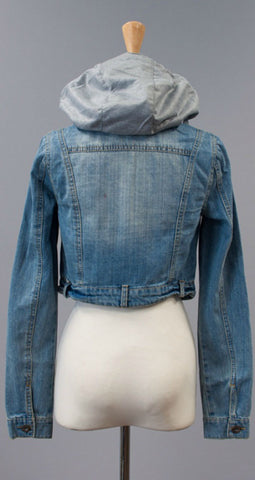 Jean Jacket with Gray Hood - Blue Chic Boutique  - 2