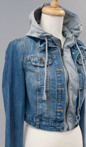 Jean Jacket with Gray Hood - Blue Chic Boutique  - 4