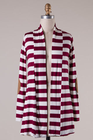Knit Striped Cardigan with Elbow Patches - Burgundy - Blue Chic Boutique  - 2