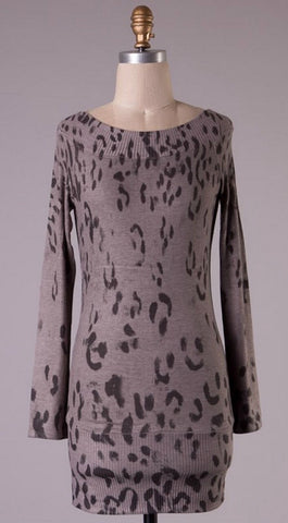 Leopard Printed Tunic Top - Mocha - Blue Chic Boutique  - 1