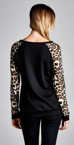 Long Sleeve Tunic Top with Leopard Sleeves - Black - Blue Chic Boutique  - 4