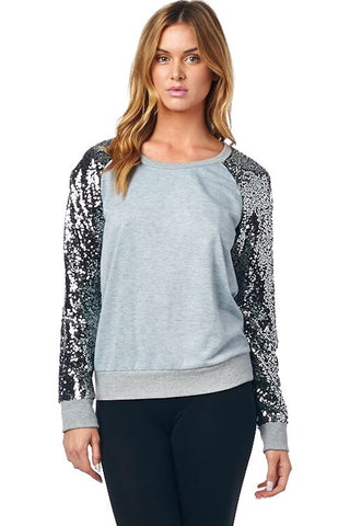 Picture Perfect Sequined Top - Gray - Blue Chic Boutique  - 1