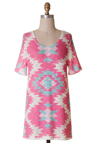 Short Sleeve Tunic Top - Pink Aztec - Blue Chic Boutique  - 4
