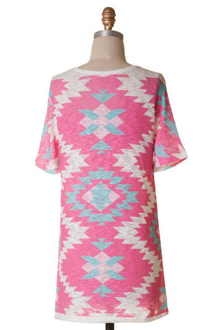 Short Sleeve Tunic Top - Pink Aztec - Blue Chic Boutique  - 5