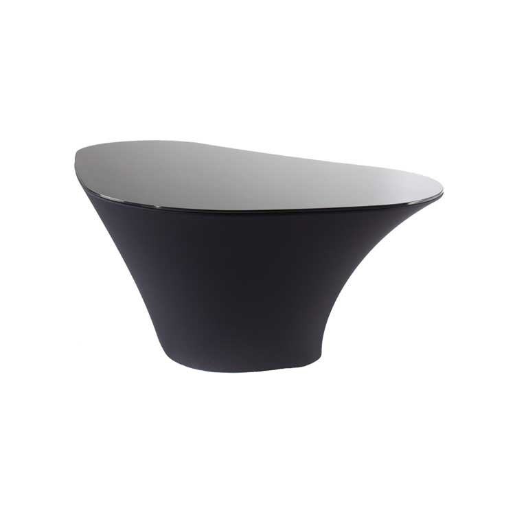 Black Modern glass end table - black cocktail table - Seattle Furniture