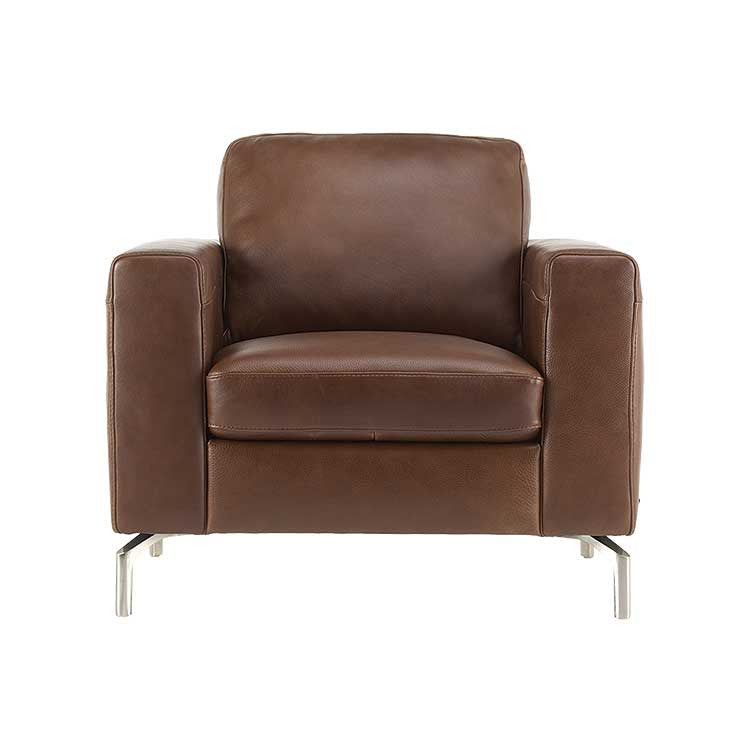 Brown leather, Modern chair sectional and ottoman - Seattle furniture