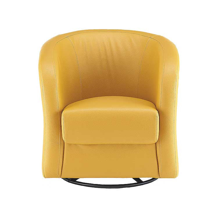 Affordable Modern Yellow Swivel Leather Accent Chair