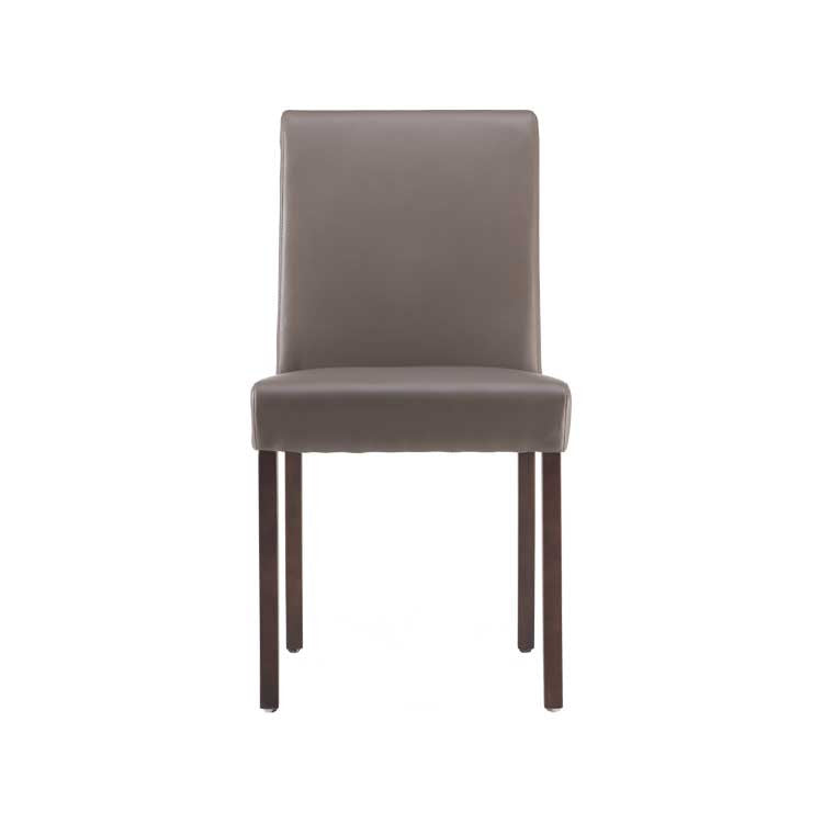 Modern, grey basic leather dining chair - Seattle furniture