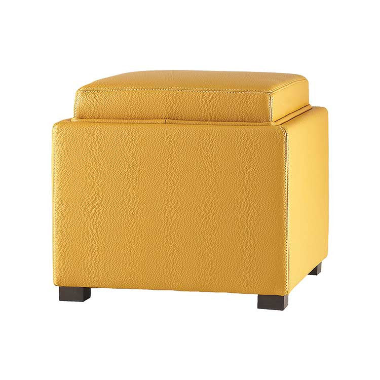 Modern Yellow Leather Storage Ottoman And Tray Top   Bellevue Modern  Furniture Store