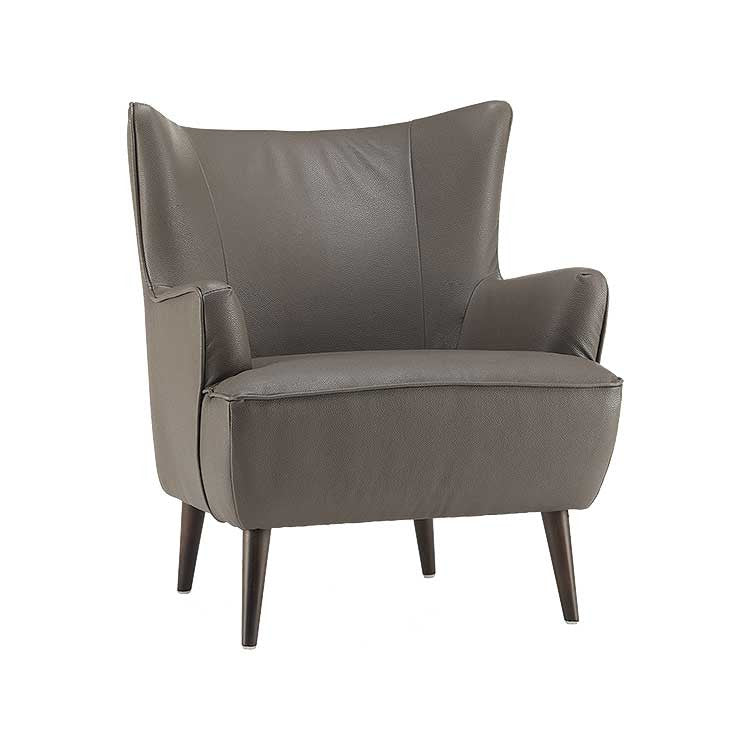 Great Grey Leather Accent Chair | Wing Back Chair | Living Room Furniture