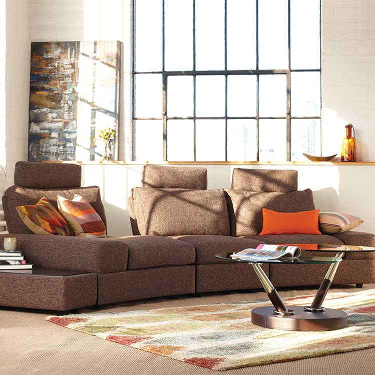 Modern style sectional with adjustable headrests & deep seating - Seattle Furniture
