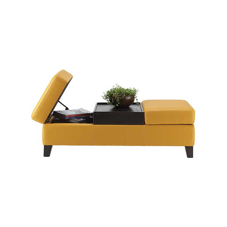 Yellow leather storage ottoman - Living room furniture Seattle