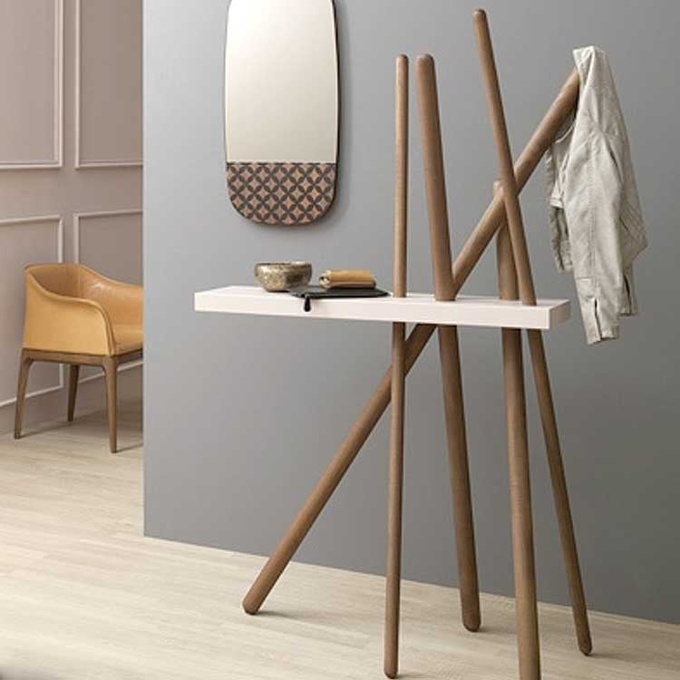 Wood Coat Rack Console
