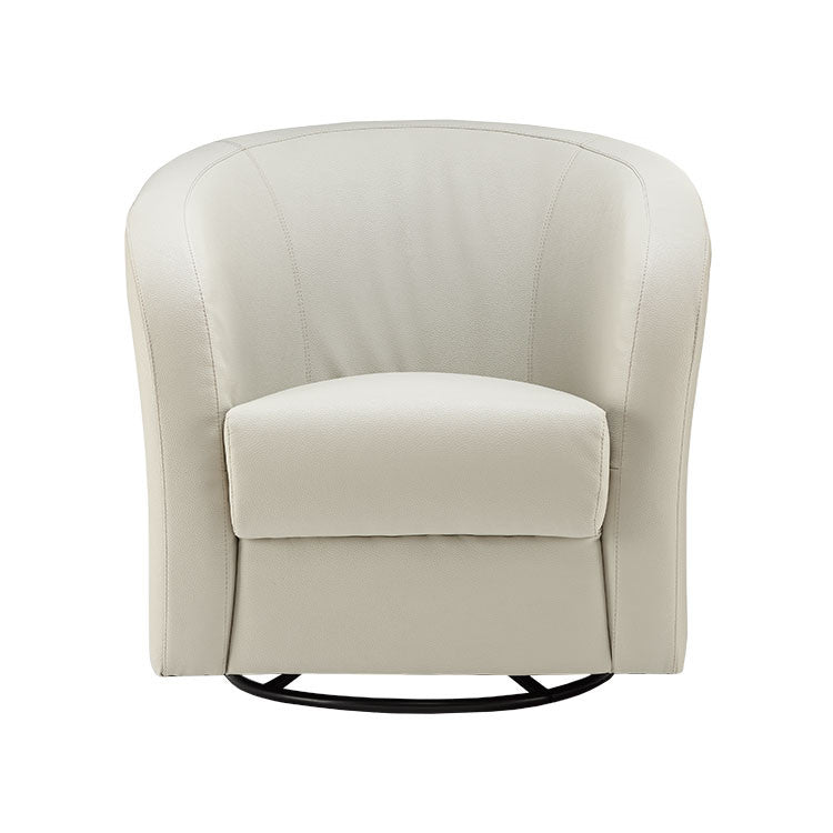 Affordable Modern Light Grey Swivel Leather Accent Chair   Seattle Furniture