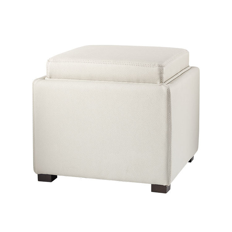 Modern Grey Leather Storage Ottoman And Tray Top   Bellevue Modern Furniture  Store