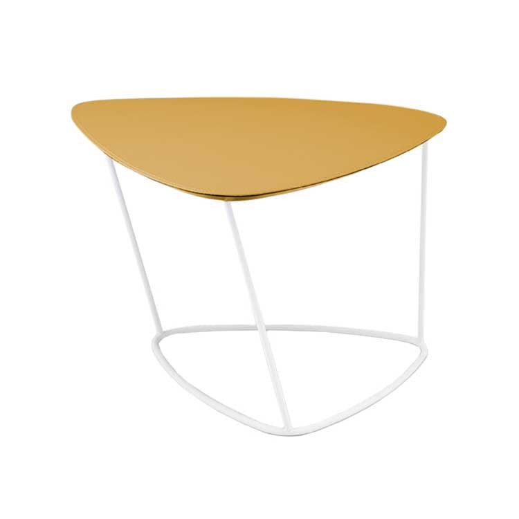 Yellow Leather accent table - Italian side table