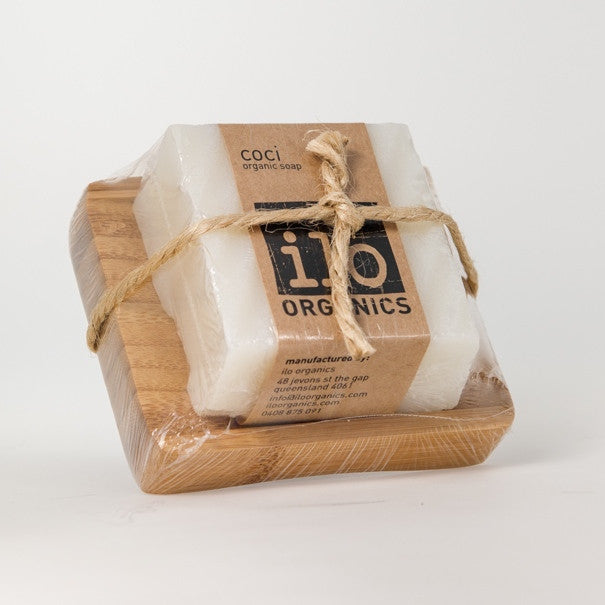 coci gift - single soap + bamboo drainer 240g