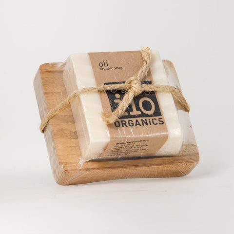 oli gift - single soap + bamboo drainer 240g