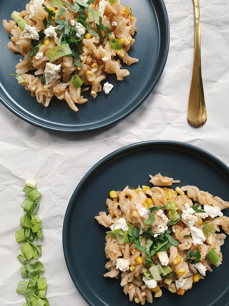 Fusilli with Buttery Corn, Scallions, & Goat Cheese