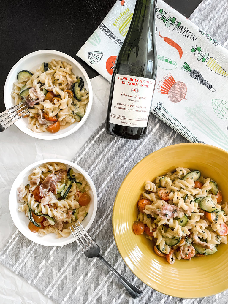 Creamy Fusilli with Prosciutto, Zucchini, and Tomatoes