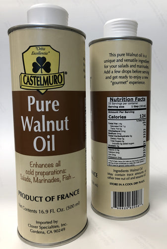 Castelmuro Pure Walnut Oil 16.9 front and back labels