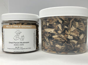 Dried porcini kibbles in 2oz and 4 oz PET jars. Dried porcini pieces in 2 oz and 4 oz jars. Porcini mushroom